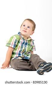 Cute kid looking up