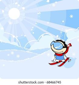 Cute kid skiing (raster version)
