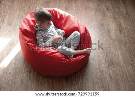Cute Kid Watching Tv Sitting Very Stock Photo Edit Now 729991159