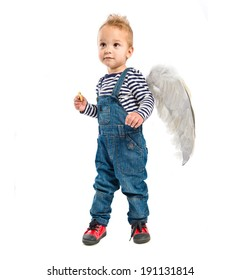Cute kid with wings over white background