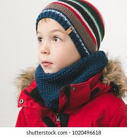 cute kid in winter time