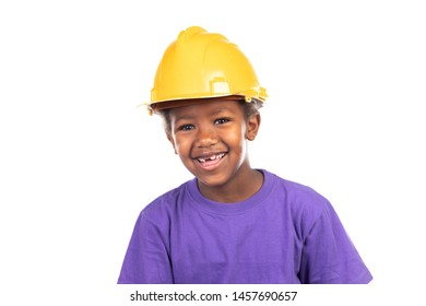 Cute kid with yellow helmet isolated on a white background