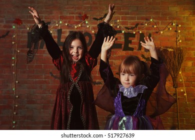 Cute kids on Halloween party