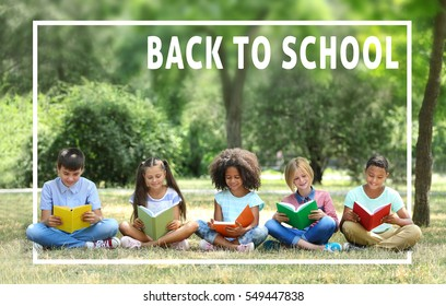 Cute kids reading books at park. Text BACK TO SCHOOL on background