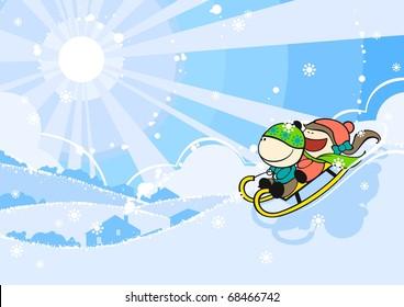 Cute kids sledding (raster version)