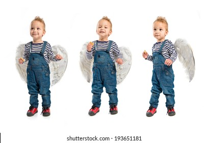 Cute kids with wings over white background hungry