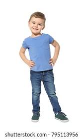 Cute kindergarten boy on white background