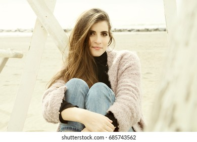 Cute lady with long hair smiling portrait