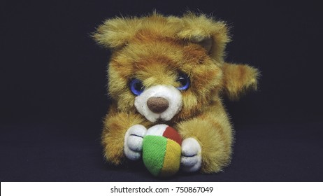 Cute lion toy with colorful ball on black background