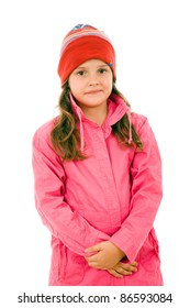 Cute litle girl winter portrait, isolated on white