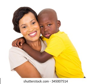 cute little african boy hugging his mother
