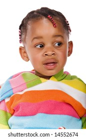 Cute little African girl with a colorful sweater