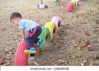Cute little Asian 2 - 3 years old toddler baby boy child climbing, walking on balance tire in the park on nature in summer, Physical, Hand & Eye Coordination, Sensory, Motor Skills development concept