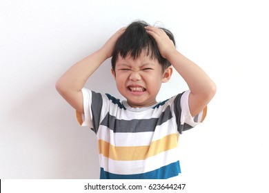 Cute Little Asian Boy Feel Strain, Angry, Bored