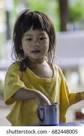 Cute little asian girl portrait (soft focus)
