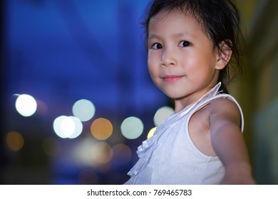 Cute little asian girl portrait outdoor