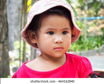 Cute little asian thai girl in garden