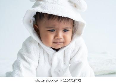 Cute little baby boy constipation