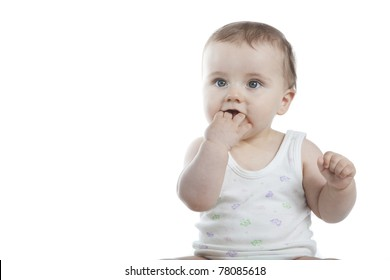 cute little baby boy on white background