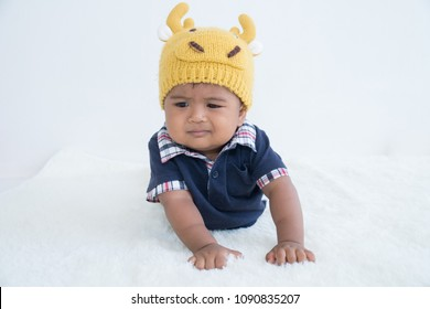 Cute little baby constipation