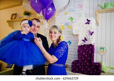 6622e2a90 Cute Little Baby Girl Blue Dress Stock Photo (Edit Now) 629663756 ...