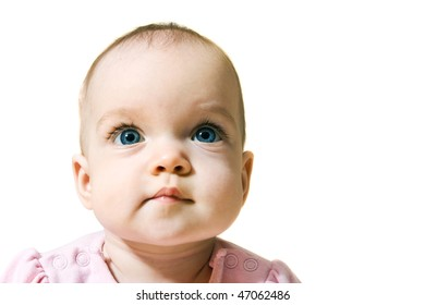 Cute little baby portrait, with copy space, isolated on white background