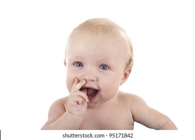 Cute little baby portrait isolated on white (with fingers in mouth)