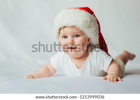 0db96ca5c Cute Little Baby Santa Hat On Stock Photo (Edit Now) 1213999036 ...
