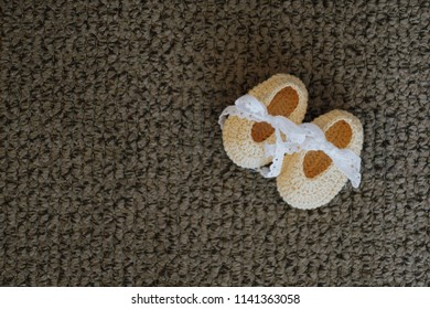 Cute little baby shoes on blanket background, Mother pregnant concept