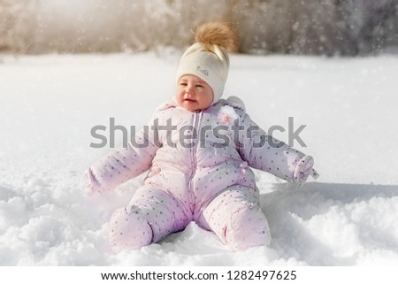 9f0bf3891e99 Cute Little Baby Sitting White Snow Stock Photo (Edit Now ...