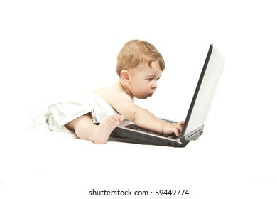 cute little baby using a pc