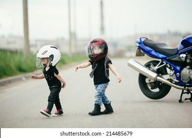 Boy On Motorcycle Image Childrens Kids White Baby Biker Bike Slogan T-Shirt
