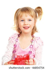 Cute little blond girl holding violet  beads on the neck with little red sparkly bag isolated on the white background.