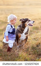 A cute little blonde haired toddler girl is talking to her adopted pet German Shepherd mix breed dog as they stand outside on a fall evening.