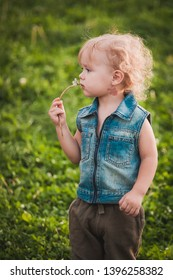 Cute little boy with blond hair at summer day standing on green meadow, holding dandelion closeup, soft focus