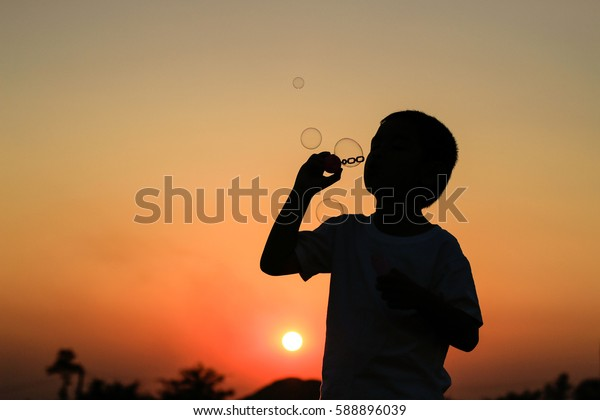 Cute little boy is blowing a soap bubbles at summer sunset