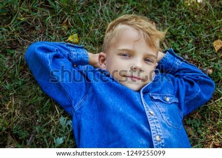 11782d3b53a7 Cute Little Boy Blue Shirt On Stock Photo (Edit Now) 1249255099 ...