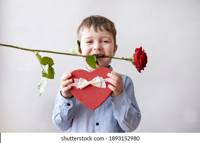 Cute little boy in bow tie with red heart gift box and rose. valentine.