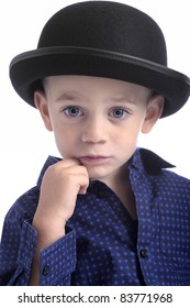 cute little boy with bowler hat. isolated on white background