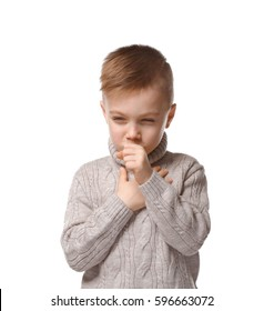Cute little boy coughing on white background