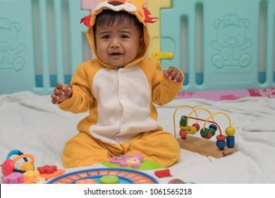 Cute little boy crying