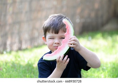 Cute little boy eats watermelon. Child and watermelon