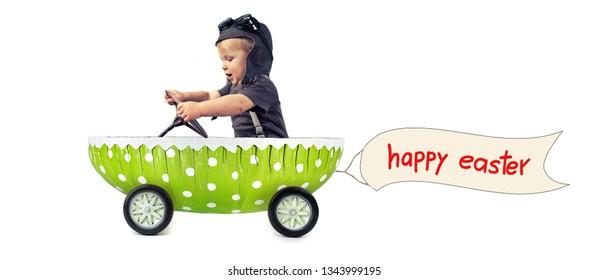 cute little boy enjoy a ride in green easter egg - happy easter