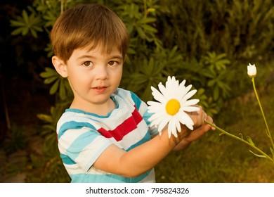 cute little boy with flower