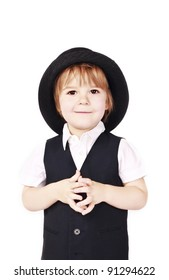cute little boy in a hat on a white background