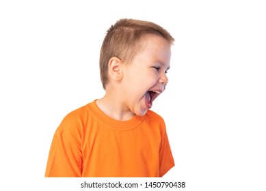 Cute little boy having fun laughing, isolated on white background
