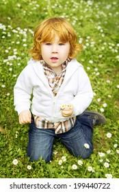 Cute little boy holding daisies