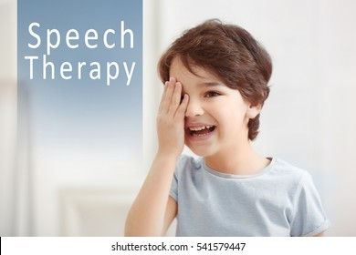 Cute little boy at home. Text SPEECH THERAPY on background