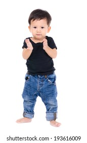 Cute Little Boy Isolated on the White Background.