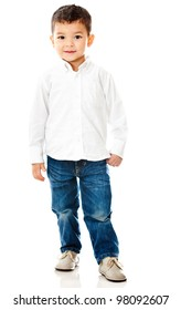 Cute little boy - isolated over a white background